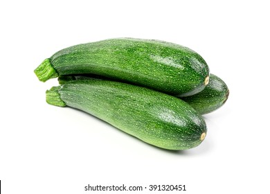 zucchini courgette Isolated on white background.