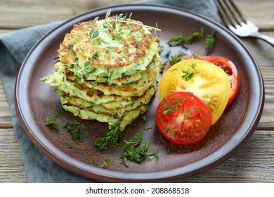 zucchini fritters with dill, food closeup