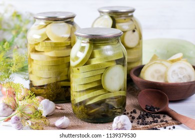 Zucchini in a glass jar. Blanks for the winter.