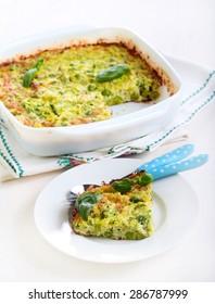 Zucchini, herbs and peas no crust quiche