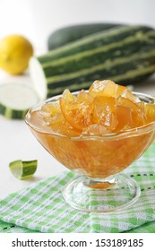 Zucchini jam with lemon in a glass bowl