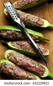 Zucchini with meat stuffed in