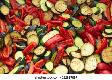 zucchini, peppers, eggplants cooked Grilled