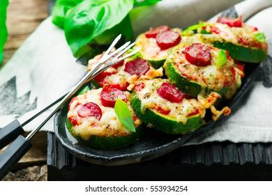 Zucchini Pizza Bites.selective focus