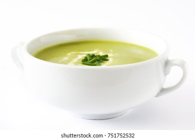 zucchini soup in bowl isolated on white background