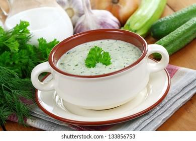 Zucchini soup with yogurt.