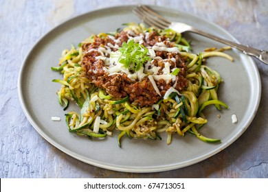 Zucchini spaghetti with beef bolognese