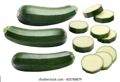 Zucchini whole pieces set isolated on white background as package design element