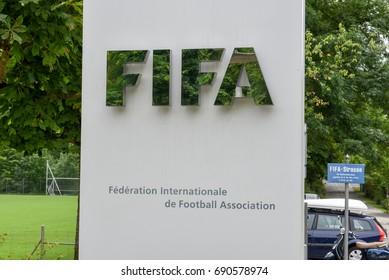 Zuerich, Switzerland - 11 July 2017: Sign of the headquarters of FIFA at Zuerich on Switzerland