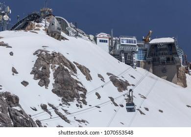 zugspitze, bavaria/germany - 10 04 18: zugspitze mountain peak station german alps in the winter