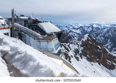 zugspitze, bavaria/germany - 10 04 18: zugspitze mountain peak station german alps in the winter