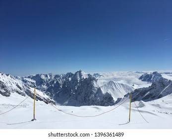Zugspitze, garmisch, partenkirchenperfect Germany Apirl 2019 : A sunny, but cold winter day on Zugspitze Mountain.