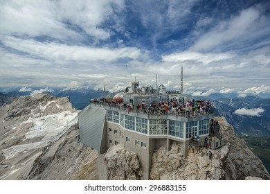 ZUGSPITZE, GERMANY - AUGUST 8: Mountain Station at highes peak of Germany, the Zugspitze on Aug 8 2014 in Zugspitze, Alps, Germany, Europe