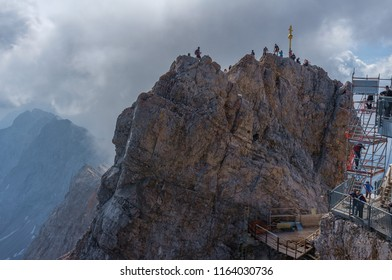 Zugspitze, Germany - July 19, 2018: People on top of Zugspitze in Bavaria