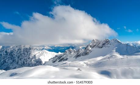 Zugspitze Glacier Ski Resort in Bavarian Alps, Germany