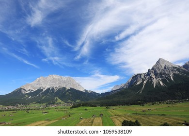 Zugspitze and Sonnenspitze mountain in the Tirolean alps of Austria