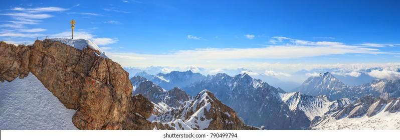 Zugspitze top of Germany panorama Alps mountain range, Garmisch Partenkirchen, Germany