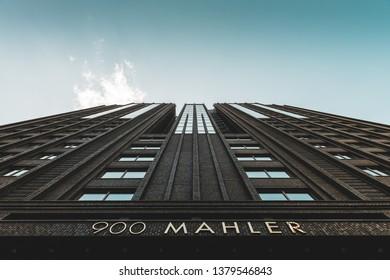 Zuidas in amsterdam, Modern office buildings in Amsterdam, Gustav Mahlerlaan Amsterdam, 24 April 2019