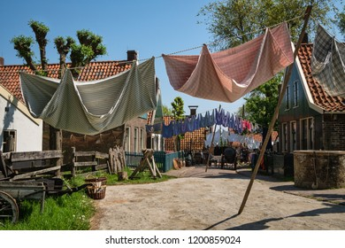 Zuiderzee museum, Enkhuizen, The Netherlands - May 9, 2019 : The way the villagers of Urk hung up their laundry to dry