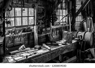 Zuiderzee museum, Enkhuizen, The Netherlands - May 9, 2019 : An old workshop in the Zuiderzee museum in Enkhuizen