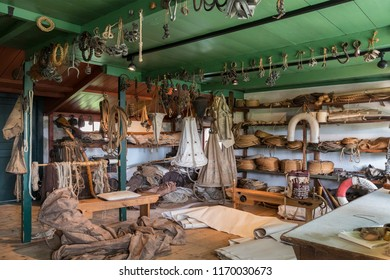 Zuiderzee. Netherlands. 08.24.17. Reconstruction of an old 19th century rope and canvas store in an old ships chandler at the Zuiderzee Open Air Museum in the Netherlands.