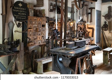 Zuiderzee. Netherlands. 08.24.17. Reconstruction of an old early 20th century joiners workshop at the Zuiderzee Open Air Museum in the Netherlands.