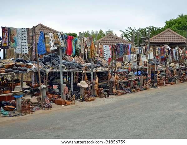 Zulu market in South Africa, Traditional african artifacts