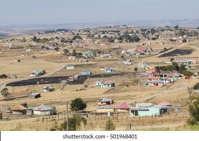 Zululand rural houses, landscape, bantustan KwaZulu Natal Pietermaritzburg South Africa