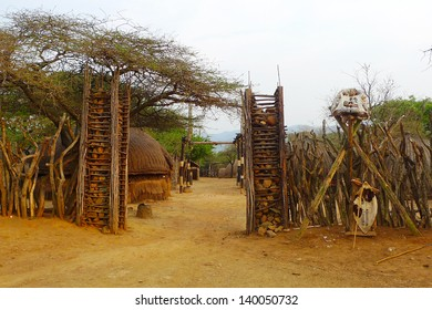 ZULULAND, SOUTH AFRICA - SEPTEMBER 14: Entrance to the  Great Kraal  in Shakaland Zulu Village on September 14, 2009. A unique cultural center built on the set of movies Shaka Zulu and John Ross