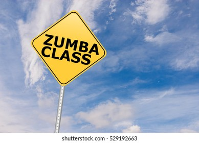 Zumba Class Road Sign against sky