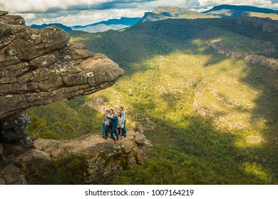 Zumsteins, AUSTRALIA - Apr 22, 2017:  A group of tourists taking selfie at the edge of The Balconies in Grampians National Park.