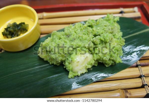 Zunda mochi, Rice cake covered in sweetened mashed green soybeans, Sendai, Japan