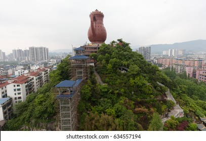 ZUNYI, GUIZHOU, CHINA - APRIL 28. 2017 - World biggest tea-pot shaped house according to Guinnes book of records in Zunyi, Guizhou province, China
