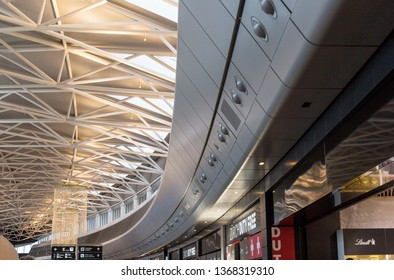 Zurich Airport, Switzerland - November 05, 2017: IInterior of the international airport in Zurich with a lot of duty free shops offering luxurious goods.