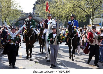 ZURICH - APRIL 20: Guild members take part in a costume parade Sechselauten on April 20, 2009 in Zurich. Sechselauten is a traditional spring festival in Zurich taking place on the 3rd Monday in April