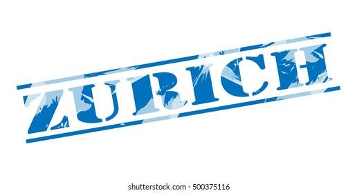 zurich blue stamp on white background