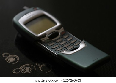 Zurich, CH - October 28, 2018: Nokia 7110 vintage GSM cell phone released in 1999, successor of The Matrix phone Nokia 8110