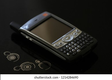 Zurich, CH - October 28, 2018: Palm Treo 600 vintage Palm PDA smartphone communicator released in 2003