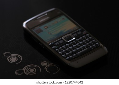 Zurich, CH - October 28, 2018: Nokia E71 E72 E-Series premium business vintage Symbian smartphone made of steel with full QWERTY keyboard released in 2008
