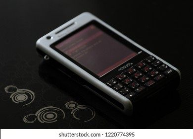 Zurich, CH - October 28, 2018: Sony Ericsson P1 vintage Symbian UIQ business smartphone with touch screen and QWERTY keyboard released in 2007