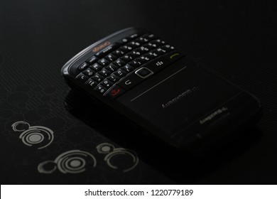 Zurich, CH - October 28, 2018: BlackBerry Bold 9780 vintage BlackBerry OS 6.0 smartphone with full QWERTY keyboard released in 2010