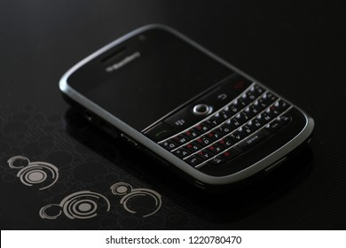 Zurich, CH - October 28, 2018: BlackBerry Bold 9000 BlackBerry OS legendary smartphone with full QWERTY keyboard released in 2008