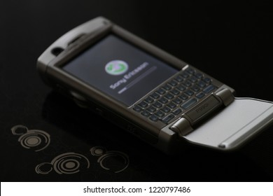 Zurich, CH - October 28, 2018: Sony Ericsson P990i vintage Symbian UIQ active flip smartphone will full QWERTY keyboard released in 2005