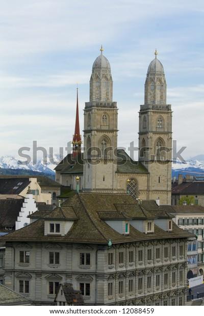 Zurich city. Zurich Cathedral. Grossmuenster. Switzerland