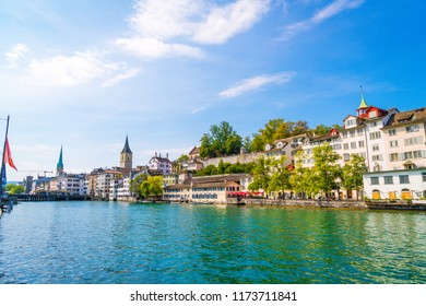 Zurich city center with famous Fraumunster and Grossmunster Churches and river Limmat at Zurich Lake
