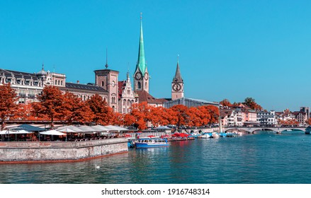 Zurich city center with famous Fraumunster and Grossmunster Churches and river Limmat at Lake Zurich, Canton of Zurich, Switzerland