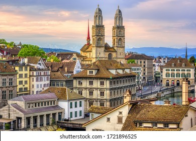 Zurich city center, view over Old town roofs to Grossmunster cathedral, Switzerland