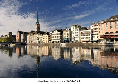 Zurich cityscape (Famous Fraumuenster Cathedral)