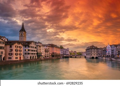 Zurich. Cityscape image of Zurich, Switzerland during dramatic sunset.