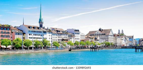 Zurich cityscape and Limmat river in  Switzlerland